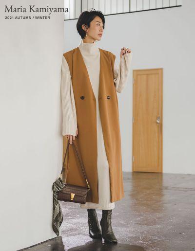 [神山まりあさん着用][低身長向けサイズ有]カットツイルノースリーブワンピースジャケット