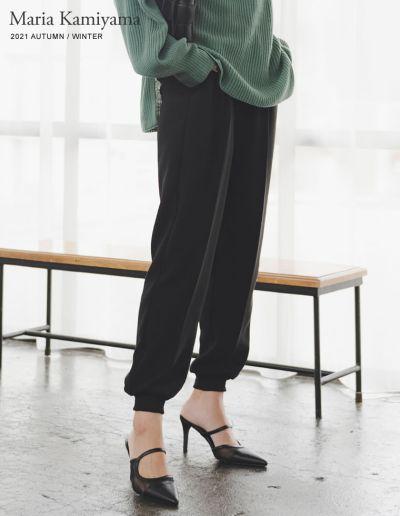 [神山まりあさん着用][低身長サイズ有]センタープレスジョーゼットジョガーパンツ