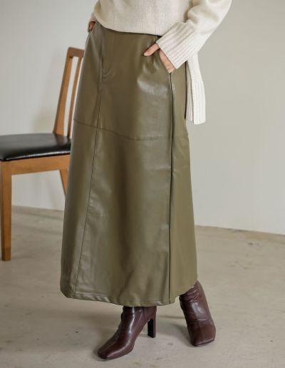 [低身長/高身長サイズ有]エコレザーロングスカート