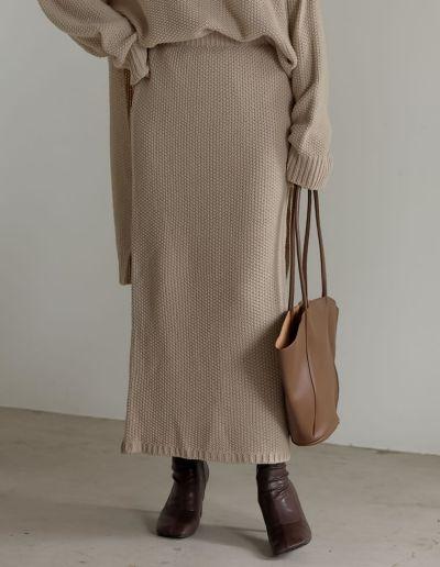 [低身長サイズ有]鹿の子編みストレートニットスカート