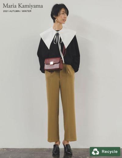 [神山まりあさん着用][低身長/高身長サイズ有]とろみストレッチタックセミルーズスラックスパンツ