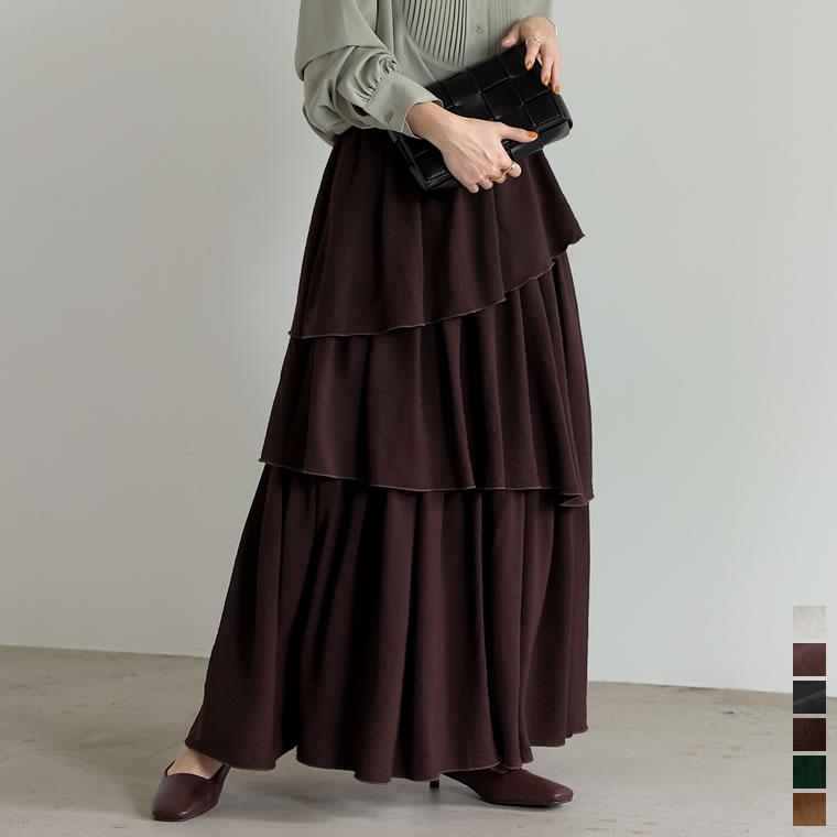 134899_[低身長サイズ有]ランダムティアードマキシスカート