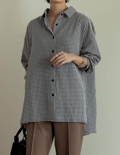 コットンボイルギンガムチェックオーバーサイズシャツ