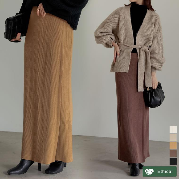 134927_[低身長サイズ有]リブニットラップスカート