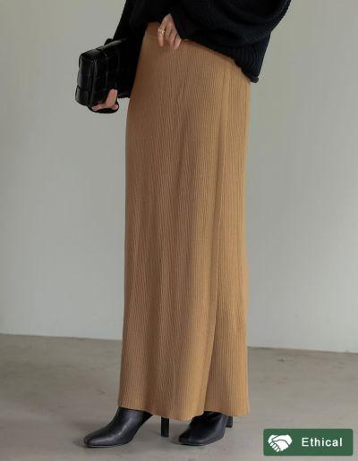[低身長サイズ有]リブニットラップスカート