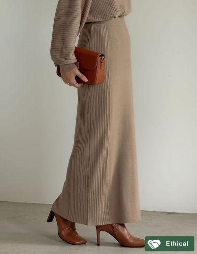 [低身長サイズ有]サイドリブニットタイトスカート