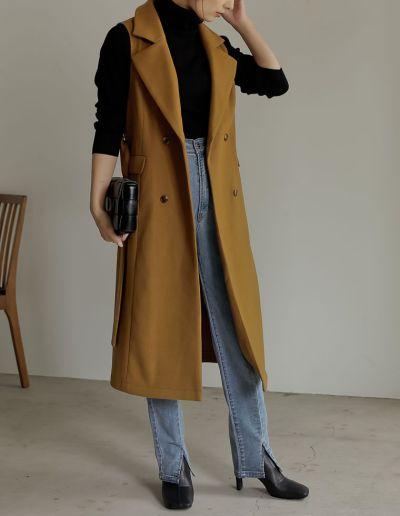 [低身長サイズ有]フェイクメルトンミドル丈テーラードジャケット