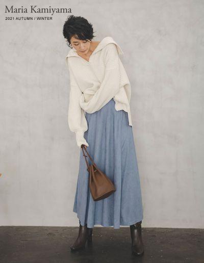 [神山まりあさん着用][低身長サイズ有]ポンチスエードマキシフレアスカート