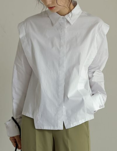 ストレッチコットンショルダーレイヤードライクシャツ