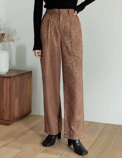 [低身長/高身長サイズ有]ジャガードストレートスラックスパンツ