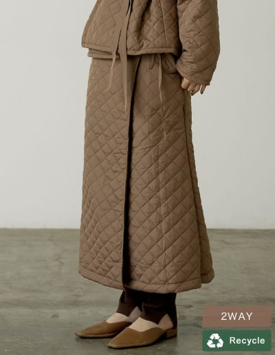 [2021-22 WINTER PRE ORDER][低身長サイズ有]マルチWAY裏フリースリサイクルタフタキルティングスカート