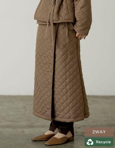 [低身長サイズ有]マルチWAY裏フリースリサイクルタフタキルティングスカート