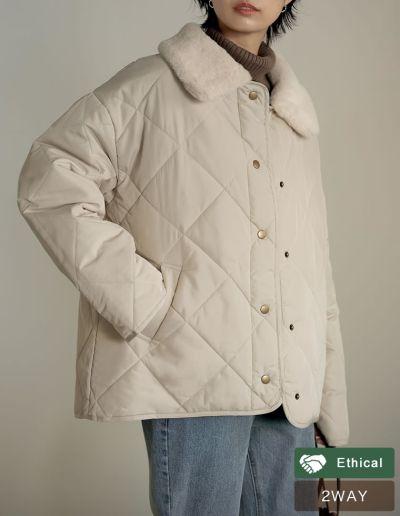 リサイクルタフタ襟ファー取り外しキルティングジャケット