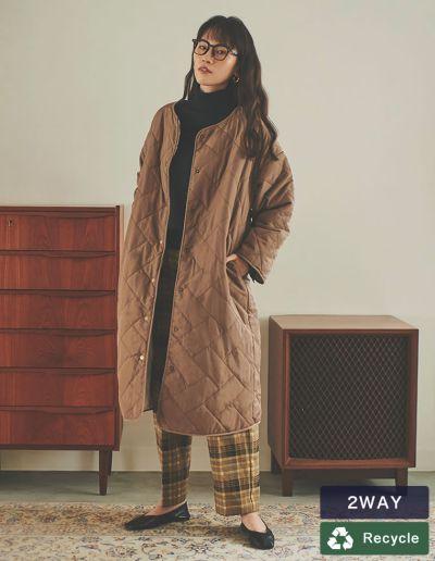 [IWU(アイダブリュー)][低身長サイズ有]リサイクルタフタリバーシブル中綿キルティングコート