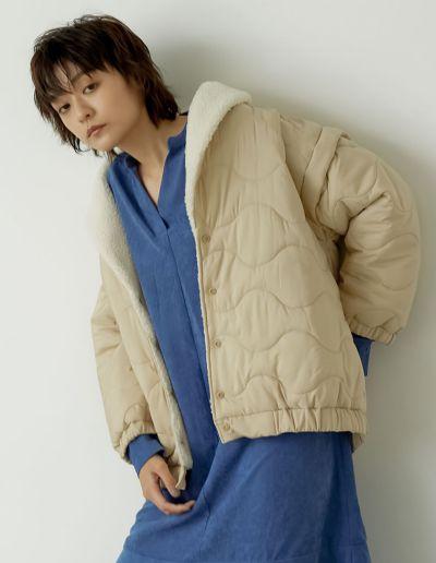 オーバーサイズ裏ボアキルティングジャケット