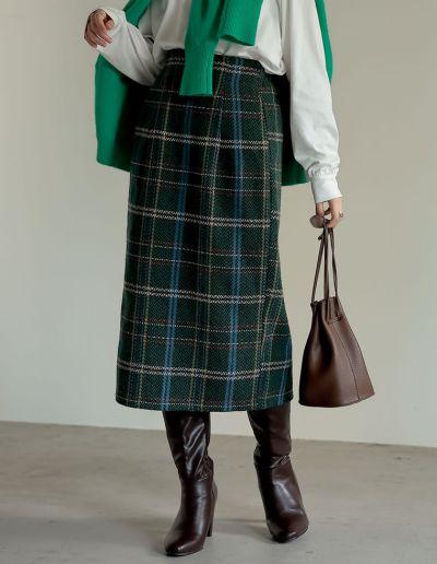 ウールライクチェックタイトスカート