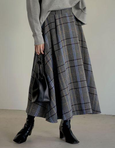 ウールライクチェックフレアスカート