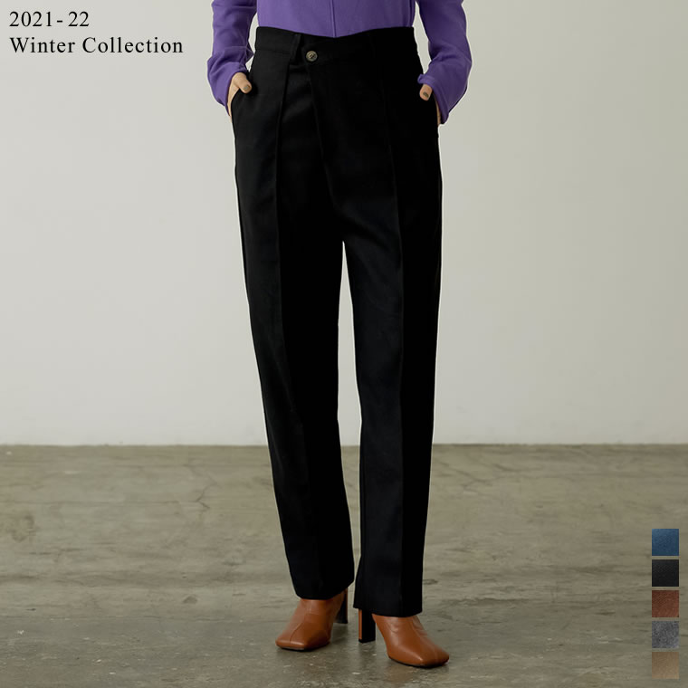 135081_[2021-22 WINTER PRE ORDER][低身長/高身長サイズ有]起毛ツイルドロップボタンピンタックパンツ