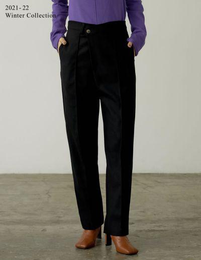[2021-22 WINTER PRE ORDER][低身長/高身長サイズ有]起毛ツイルドロップボタンピンタックパンツ