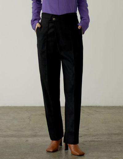 [低身長/高身長サイズ有]起毛ツイルドロップボタンピンタックパンツ