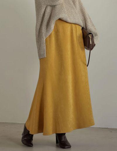[低身長/高身長サイズ有]ピーチサテンマーメイドスカート