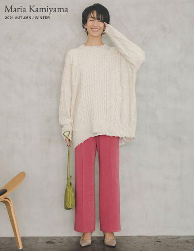 [神山まりあさん着用][低身長/高身長サイズ有]ピンタックカラードロストパンツ