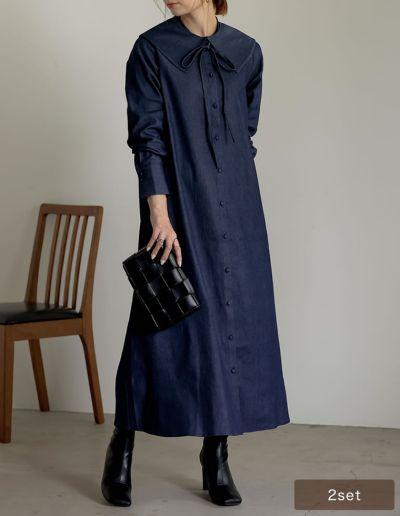 [低身長サイズ有][2点セット]マルチWAY襟付きライトデニムシャツワンピース