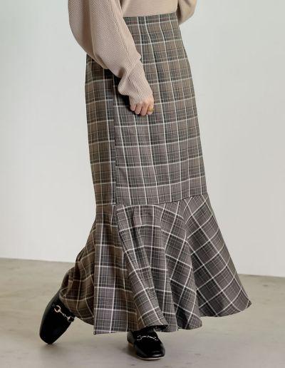 [低身長/高身長サイズ有]チェック柄/千鳥格子柄/ヘリンボーン/総柄マーメイドロングスカート