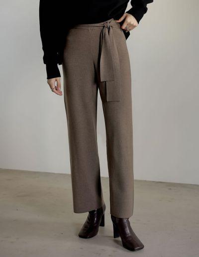 [低身長サイズ有]ウエストベルト付きニットパンツ