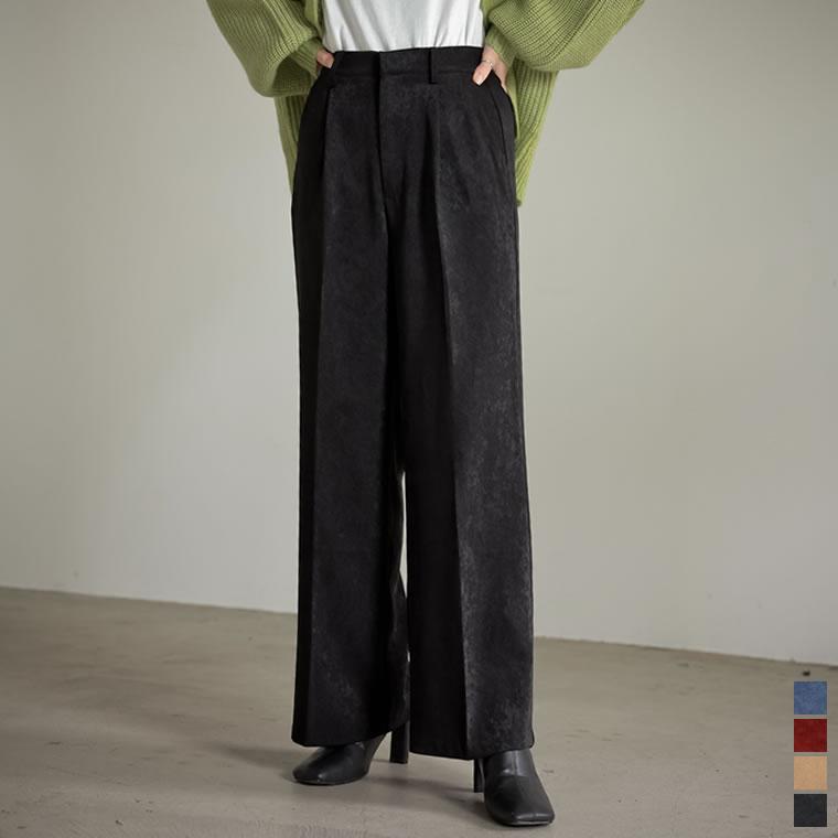 135182_[低身長/高身長サイズ有]ピーチサテンタックストレートパンツ