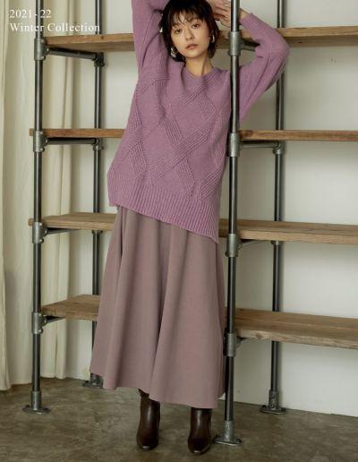 [2021-22 WINTER PRE ORDER][低身長サイズ有]シャギーニットーロングフレアスカート