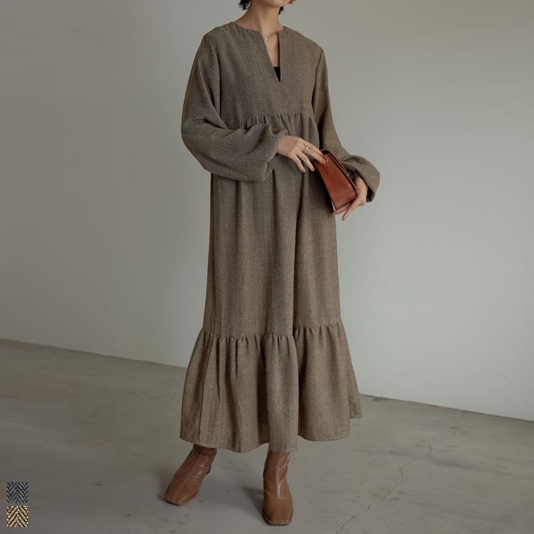 135196_[低身長/高身長サイズ有]キーネックヘリンボーンティアードワンピース