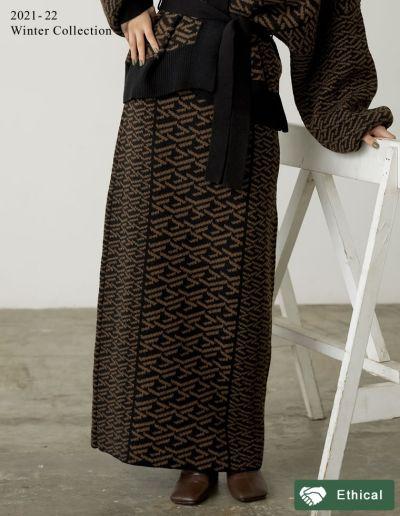 [2021-22 WINTER PRE ORDER][低身長サイズ有]グラフィックジャガードニットナロースカート