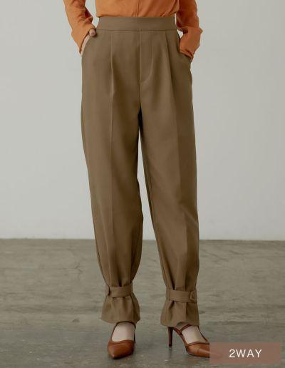 [低身長/高身長サイズ有]2WAY起毛ツイルアンクルベルト付きストレート&ジョガーパンツ