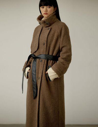 [低身長サイズ有]ボアムートントレンチデザインロングコート