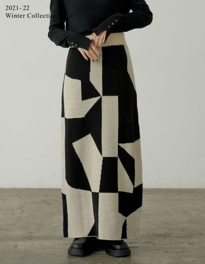 [2021-22 WINTER PRE ORDER][低身長サイズ有]ジオメトリックニットタイトスカート