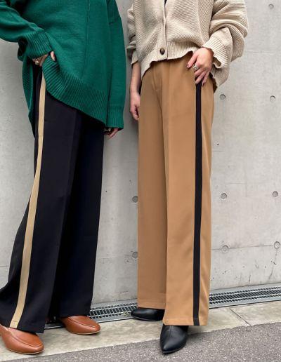 [低身長/高身長サイズ有]とろみクロスセンタープレスサイドラインパンツ