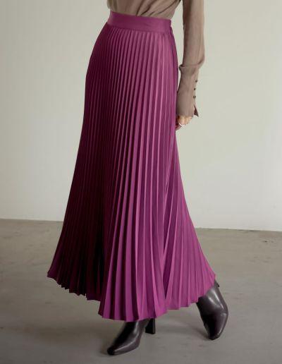 [低身長サイズ有]カラープリーツスカート